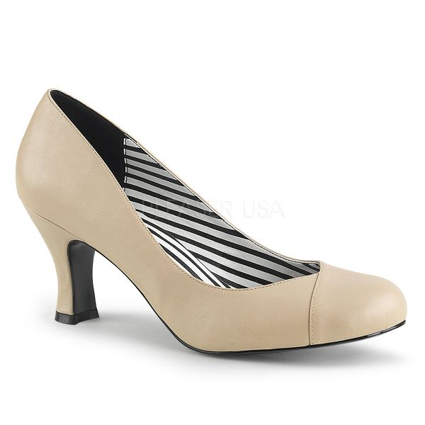 Pumps cream PU mit Blockabsatz JENNA-01